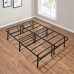 "Mainstays 14"" High Profile Foldable Steel Bed Frame, Powder-"