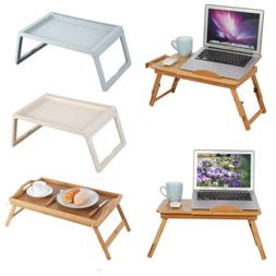 Adjustable Bed Tray Lap Desk Serving Table Folding Legs Bamb