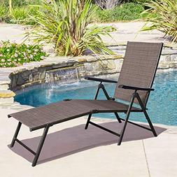 Giantex Adjustable Pool Chaise Lounge Chair Recliner Outdoor