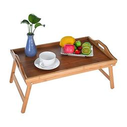 Bamboo Breakfast Table Adjustable Portable Breakfast Serving