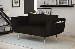 Premium Black Futonsofa Sleeper Couch with Twill Fabric, Chr