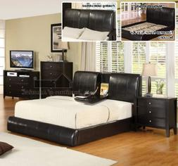 New Espresso Standard Eastern King Size Platform Bed with Fo