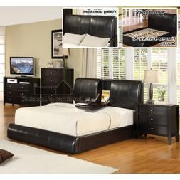 New Espresso Queen Size Platform Bed with Fold Down Tray