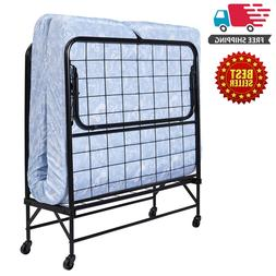 """Folding Bed Cot with 5"""" Foam Mattress Guest Roll Away Campin"""