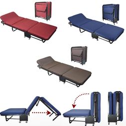 Folding Bed Rollaway Guest Bed Steel Frame With Foam Mattres