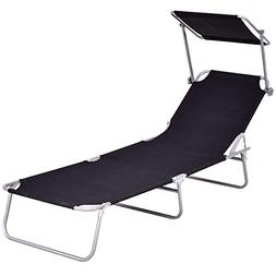 Giantex Folding Lounge Chair Relaxer Bed with Sun Shade Outd