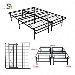 Full Size Bi-Folding Platform Metal Bed Frame Mattress Found