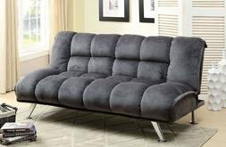 Futon Sofa Bed Convertible Couch Sleeper Lounger Tufted Gray