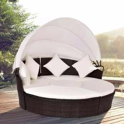 Giant Outdoor Patio Canopy Cushioned Day Bed Round
