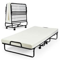 Heavy Duty Foldable Bed Metal Guest Bed Daybed W/ 4 inch Mat