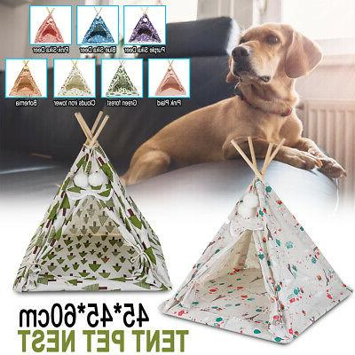 17'' Portable Linen Pet Dog House Tent Puppy Workout Teepee
