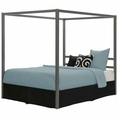 DHP Modern Canopy Bed Frame, Classic Design, Queen Size, Gre