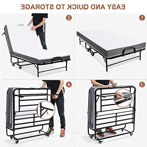 Smile Back Folding Bed Guest Size Bed Frame Adults, Foam Mattress, for Guest on No Tools Required