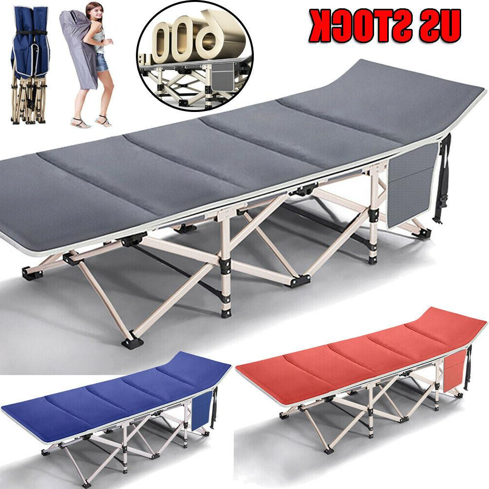 Folding Camping Bed Cot Heavy Duty 26'' Wide Sturdy Sleeping