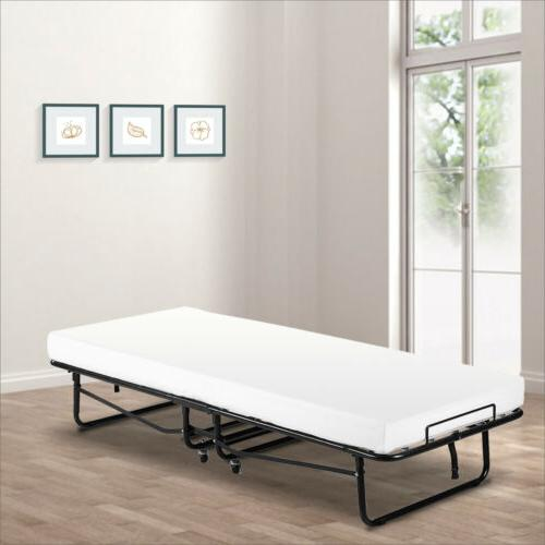 Kenwell Twin Size Folding Rollaway Guest Metal Bed With Memo