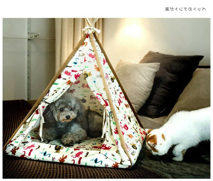 Removable Washable Canopy Teepee Indian Tent for Dog Small