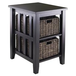 Side End Table Night Stand with 2 Foldable Basket Storage Be