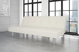 DHP Nola Futon Couch with Tufted Faux Leather Upholstery, Mo
