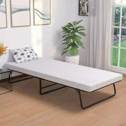 Portable Folding Metal Bed Cot Size with Foam Mattress Bedro