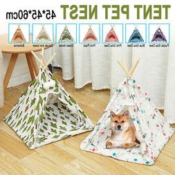 Portable Pet Teepee Tent Foldable Cat Bed Dog Puppy House Wa