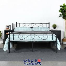 Queen Size Metal Bed Frame Black Mattress Foundation with He
