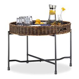 Relaxdays Rattan Serving Table, Round Tray, Wicker Look, Fol