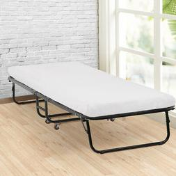 BestMassage Guest Folding Bed Camping Cot Size Roll Away Fol