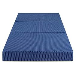 SLEEPLACE 4 inch Tri-Folding Memory Foam Mattress, Blue