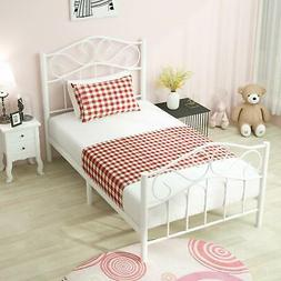 Twin Size Metal Bed Frame White w/ Sturdy Headboard and Foot